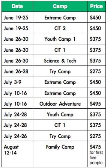 2016 summer camp dates and rates